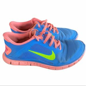 NIKE FREE 4.0 V3 Blue and Salmon Running Shoes 10